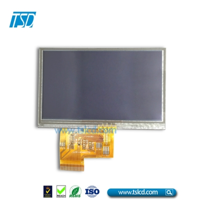 4.3 inch TFT LCD Module 500nits brightness with Resistive touch screen